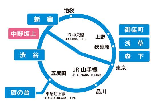 リブスタイル中野坂上への電車での行き方